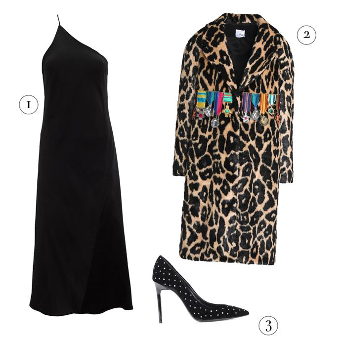 """1, Dress by Kacey Devlin, $495 at [The Undone](https://www.theundone.com/collections/dresses/products/kacey-devlin-black-duo-one-symmetrical-midi-slip-dress target=""""_blank"""" rel=""""nofollow""""); 2, Coat by Stella Jean, $750 at [The Outnet](https://www.theoutnet.com/en-au/shop/product/long_cod13331180552214394.html target=""""_blank"""" rel=""""nofollow""""); 3, Pumps by Saint Laurent, $752 at [MyTheresa](https://www.mytheresa.com/en-au/saint-laurent-anja-105-crystal-embellished-velvet-pumps-858278.html?catref=category target=""""_blank"""" rel=""""nofollow"""")."""