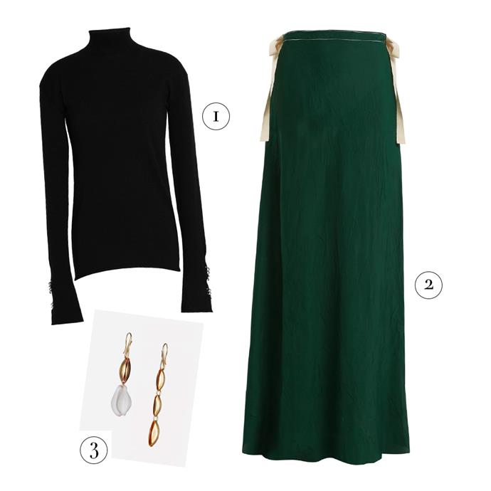 """1, Wool turtleneck by Ellery, $499 at [The Outnet](https://www.theoutnet.com/en-au/shop/product/fine-knit_cod7789028785236623.html#dept= target=""""_blank"""" rel=""""nofollow""""); 2, Maxi skirt by On The Island, $602 at [MATCHESFASHION.COM](https://www.matchesfashion.com/au/products/On-the-Island-Nevis-self-tie-maxi-skirt-1202544 target=""""_blank"""" rel=""""nofollow""""); 3, Earrings by Albus Lumen, $200 at [My Chameleon](https://www.mychameleon.com.au/fashion/jewellery/x-ryan-storer-mismatched-drop-earrings-albus-lumen target=""""_blank"""" rel=""""nofollow"""")."""