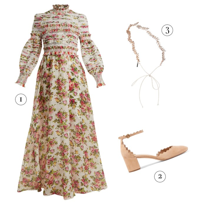 "1, Dress by Zimmermann, $2,200 at [MATCHESFASHION.COM](https://www.matchesfashion.com/au/products/Zimmermann-Radiate-smocked-dress-1199912|target=""_blank""