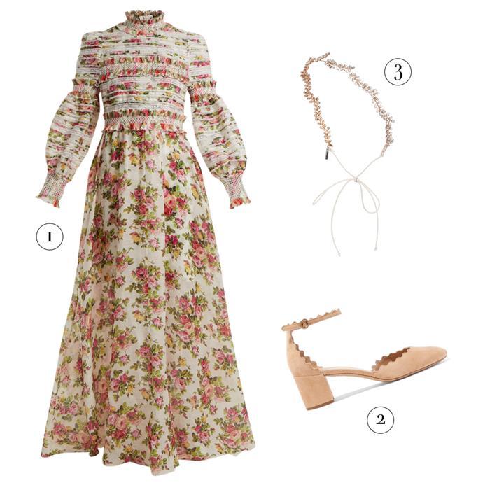 "1, Dress by Zimmermann, $2,200 at [MATCHESFASHION.COM](https://www.matchesfashion.com/au/products/Zimmermann-Radiate-smocked-dress-1199912 target=""_blank"" rel=""nofollow""); 2, Shoes by Chloé, $1,030 at [Net-A-Porter](https://www.net-a-porter.com/au/en/product/1068189/chloe/lauren-scalloped-suede-pumps target=""_blank"" rel=""nofollow""); 3, Headband by Jennifer Behr, $423 at [MyTheresa](https://www.mytheresa.com/en-au/jennifer-behr-delicate-vine-crystal-embellished-headband-971516.html?catref=category target=""_blank"" rel=""nofollow"")."