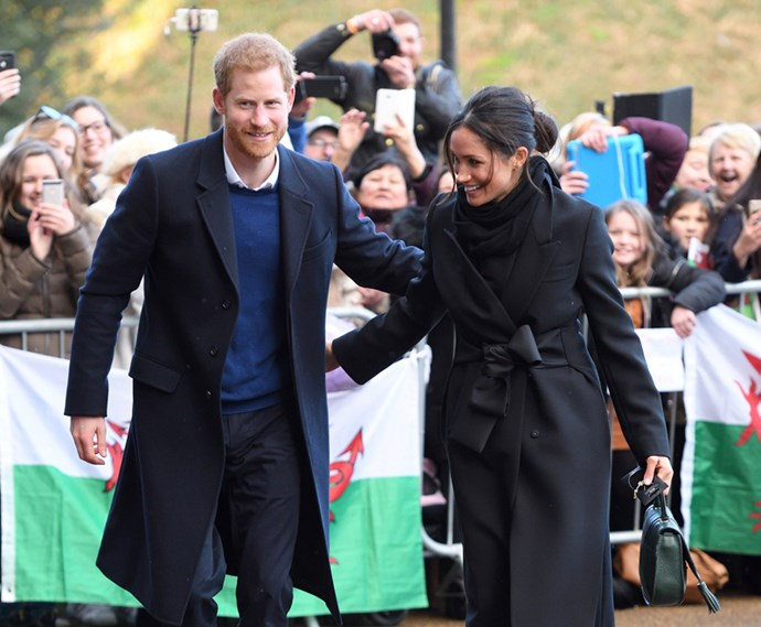 Prince Harry and Meghan Markle during a walkabout at Cardiff Castle on 18 January, 2018.