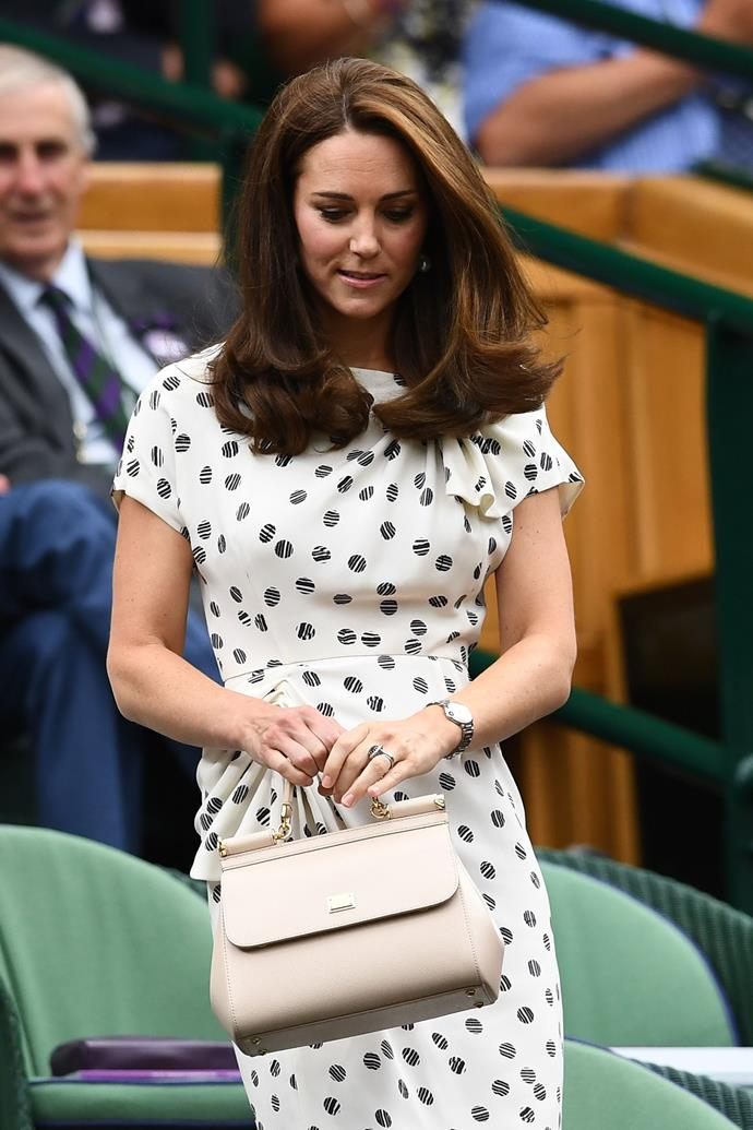 Catherine, Duchess of Cambridge at Wimbledon in London.