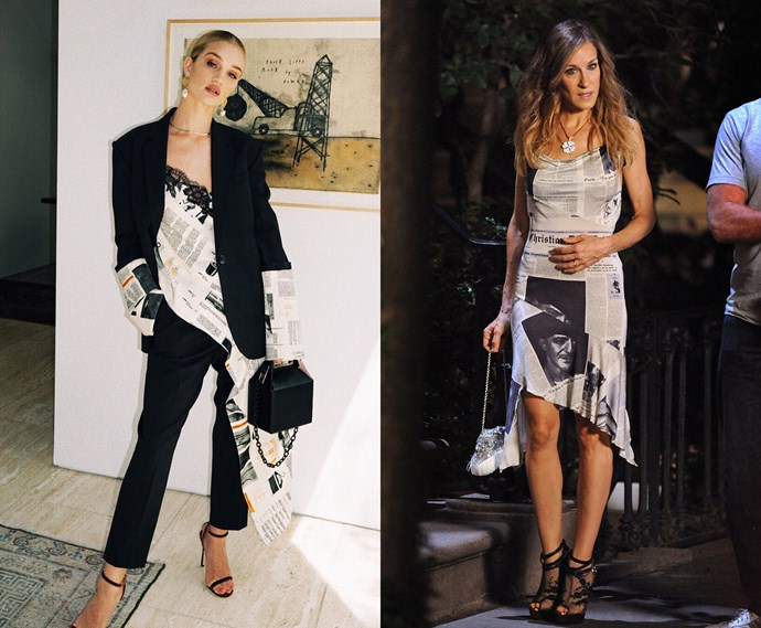 ***The newspaper-print dress***<br><br> Rosie Huntington-Whiteley and Carrie Bradshaw.