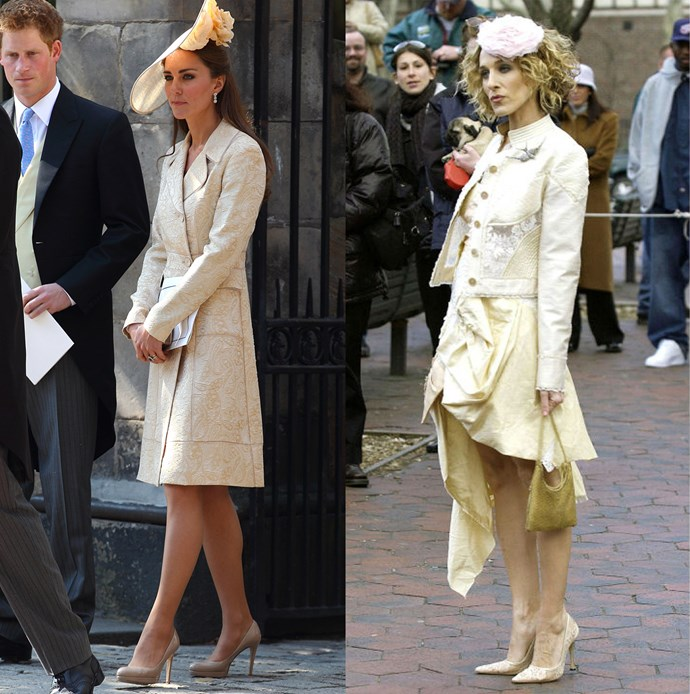 ***The cream coat-dress and floral fascinator***<br><br> Catherine, Duchess of Cambridge, and Carrie Bradshaw.