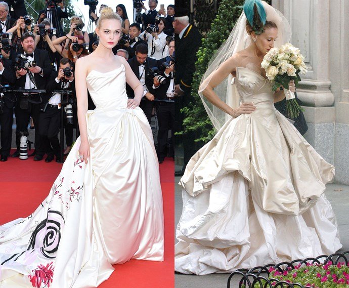 ***The voluminous Vivienne Westwood corseted satin gown***<br><br> Elle Fanning and Carrie Bradshaw.