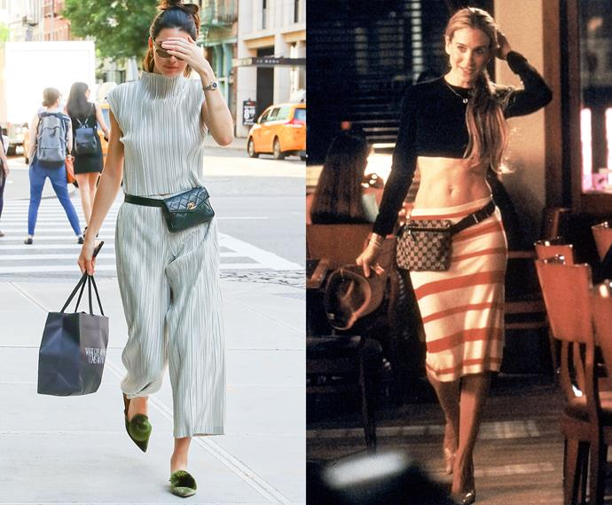 ***The designer waist bag (and migraine pose)***<br><br> Kendall Jenner and Carrie Bradshaw.