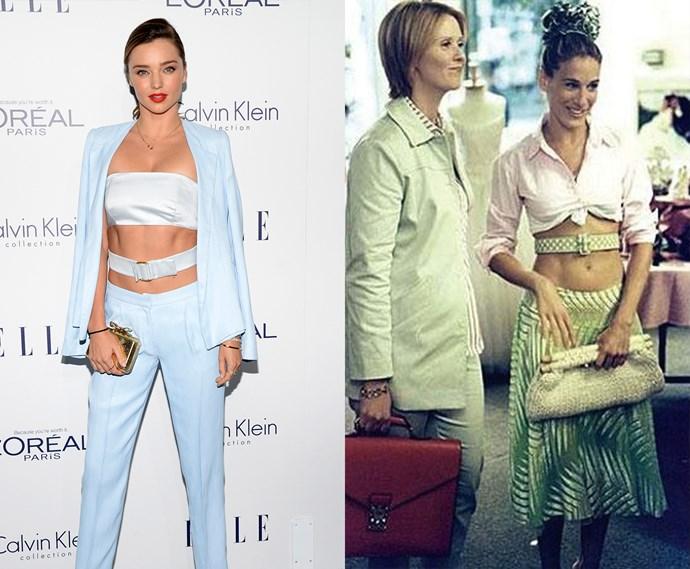 ***The belt around the waist***<br><br> Miranda Kerr and Carrie Bradshaw.