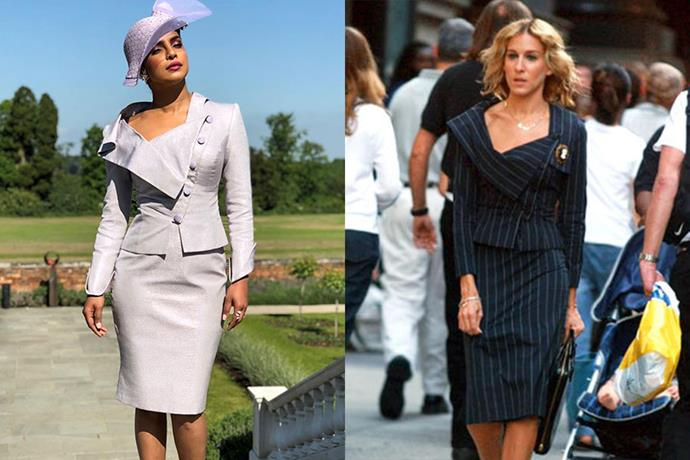 ***The structural skirt-suit***<br><br> Priyanka Chopra and Carrie Bradshaw.
