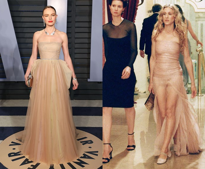 ***The strapless nude tulle dress***<br><br> Kate Bosworth and Carrie Bradshaw.