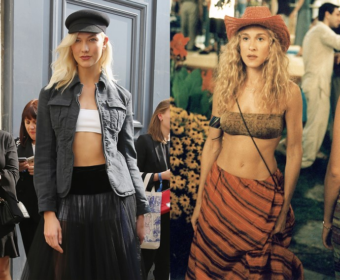 ***The tiny tube top with skirt and hat***<br><br> Karlie Kloss and Carrie Bradshaw.