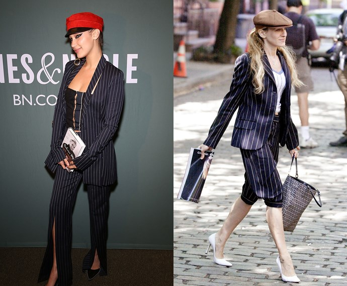 ***The navy pinstripe suit with flat cap***<br><br> Bella Hadid and Carrie Bradshaw.