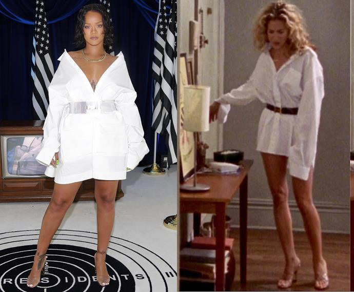 ***The oversized white button-up with belt and clear shoes***<br><br> Rihanna and Carrie Bradshaw.