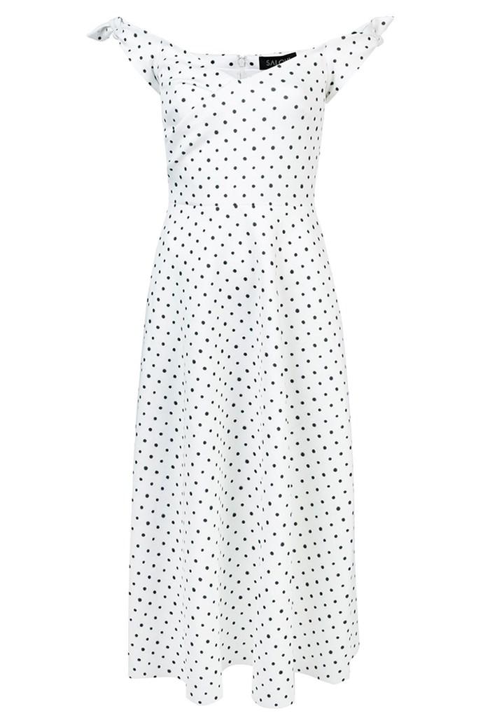 "Dress, $657, Saloni at [Farfetch](https://www.farfetch.com/au/shopping/women/saloni-polka-dot-ruffle-dress-item-13045607.aspx?storeid=9531|target=""_blank""|rel=""nofollow"")"