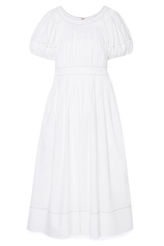 "Dress, $486, Ulla Johnson at [Net-A-Porter](https://www.net-a-porter.com/au/en/product/1060092/ulla_johnson/gallia-pleated-cotton-poplin-midi-dress|target=""_blank""