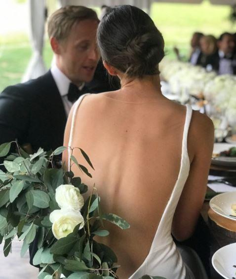 The back of Didonato's reception dress.  (PHOTO: INSTAGRAM/KATE BOCK)