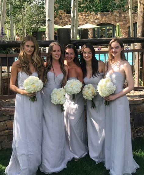 The bridesmaids in their powder blue gowns, including models Kate Bock (left) and Ali Michael (right).  (PHOTO: INSTAGRAM/KATE BOCK)
