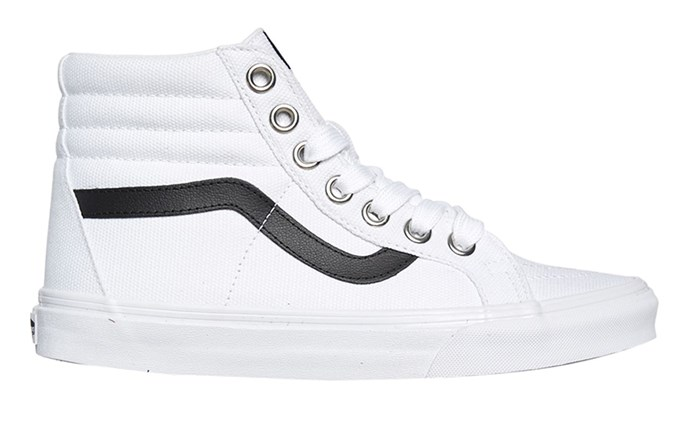 "Vans Sk8 Hi, $104 at [Surf Stitch](https://www.surfstitch.com/vans-womens-sk8-hi-reissue-shoe-true-white-SSVNA2XSBQ9GWHTM.html|target=""_blank""|rel=""nofollow"")"
