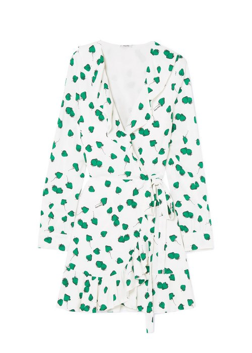 "Ruffled printed georgette wrap mini dress, $3,230, Miu Miu at [Net-A-Porter](https://www.net-a-porter.com/au/en/product/989033/miu_miu/ruffled-printed-georgette-wrap-mini-dress|target=""_blank"")"