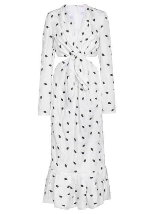 "Cutout printed crepe midi dress, $3,715, Carolina Herrera at [Moda Operandi](https://www.modaoperandi.com/carolina-herrera-r19/cutout-printed-crepe-midi-dress|target=""_blank"")"