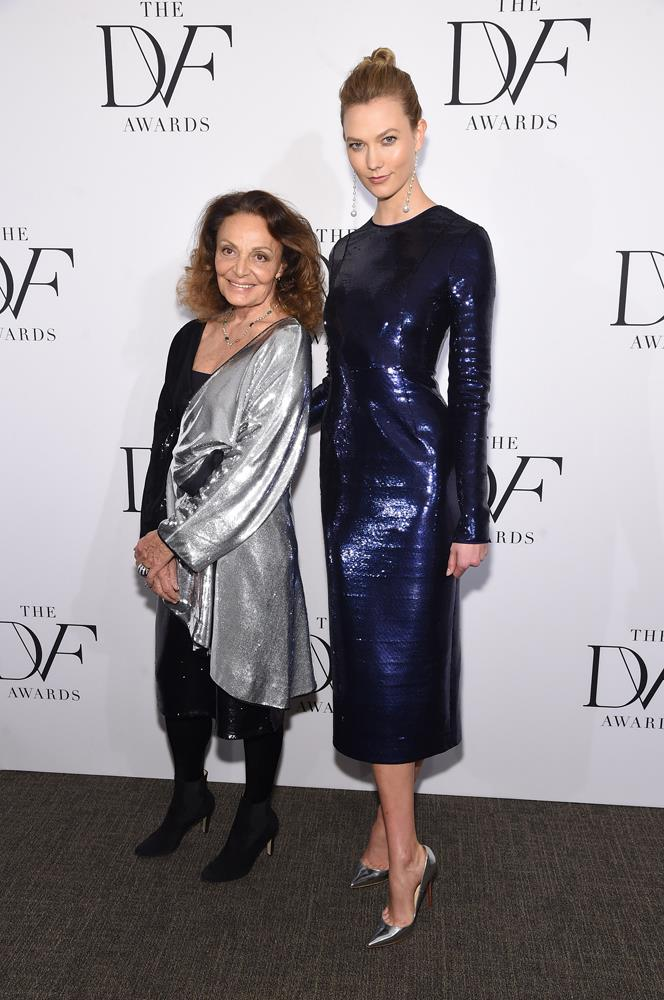 ***Diane von Furstenberg***<br><br> Having worked with DVF for a long time—opening her shows, fronting her campaigns and receiving accolades at her awards—Karlie counts her as one of her close friends.