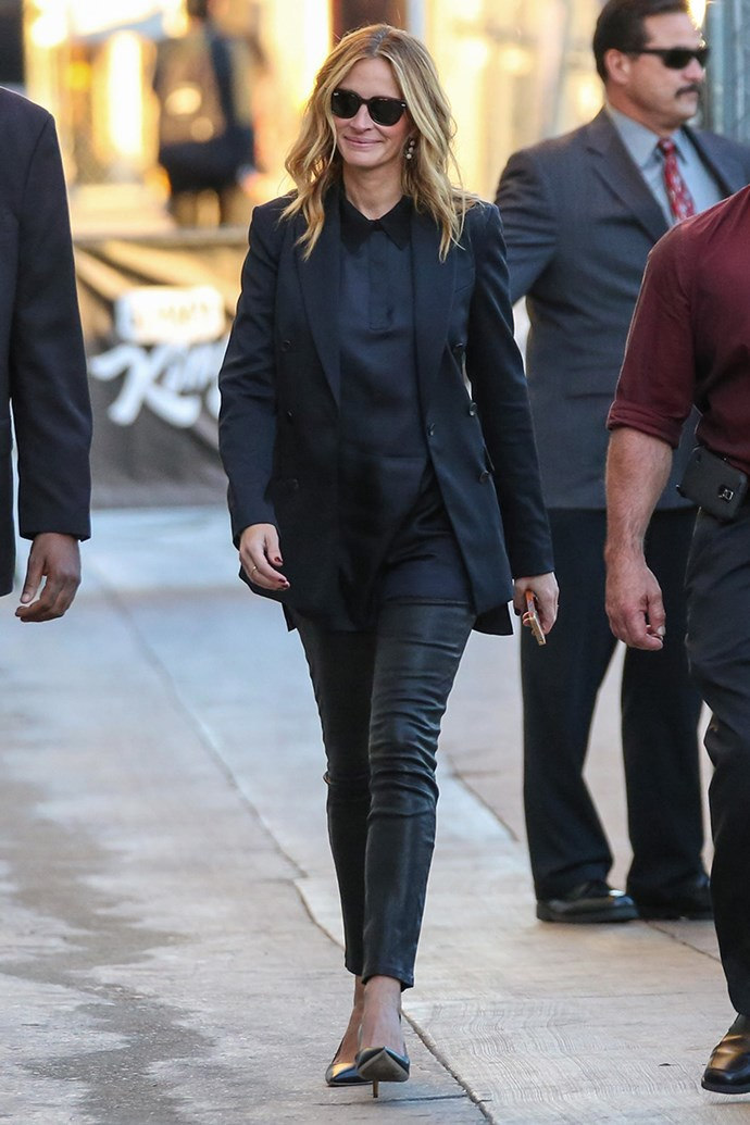 Attending *Jimmy Kimmel Live* in leather-look trousers on 12th November, 2015 in Los Angeles.