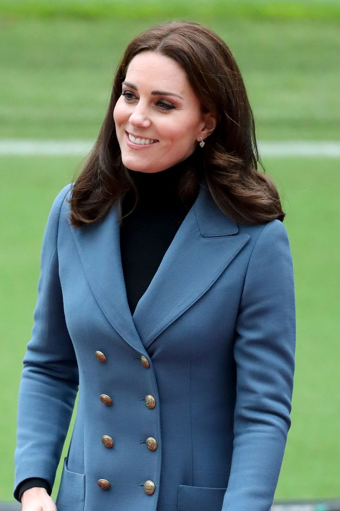 **October, 2017** <br><br> Keeping things simple, yet elegant, the Duchess opted for her signature blow dry and subtle winged eyeliner.