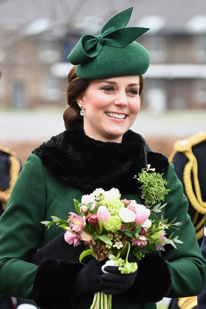 **March, 2018** <br><br> Kate chose to wear a chignon and neutral makeup to the St. Patrick's Day Parade.