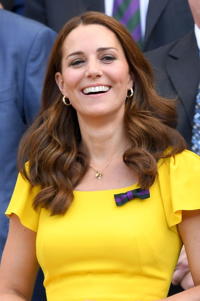 **July, 2018** <br><br> Attending the 2018 Wimbledon, Kate opted for neat waves and minimal makeup.