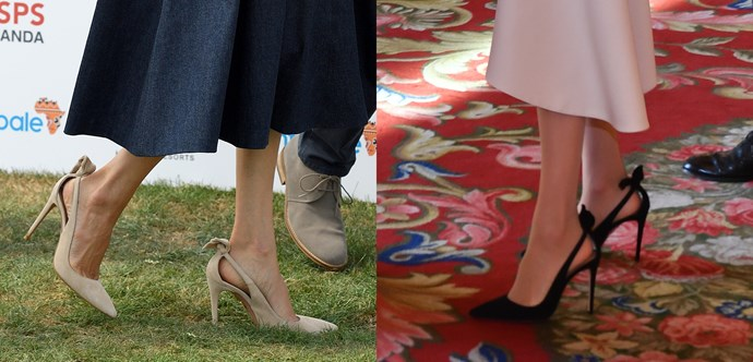 ***Aquazzura Deneuve 105 Pumps***<br><br> When Meghan stepped out to support her husband at the polo, we instantly recognised her pink Aquazzura 'Deneuve' heels, because she also owns them in black.