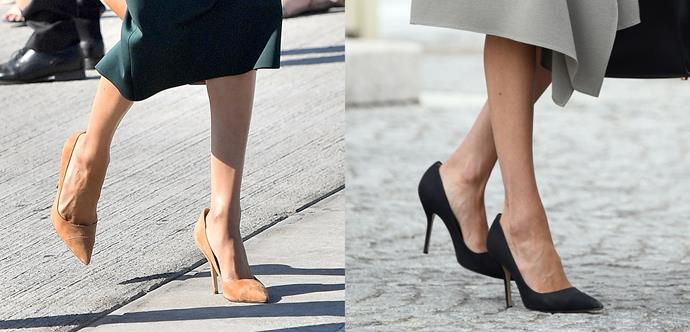 ***Paul Andrew 'Pump-It-Up' heels***<br><br> For her Ireland tour, Meghan packed two pairs of these Paul Andrew heels in both black and tan.