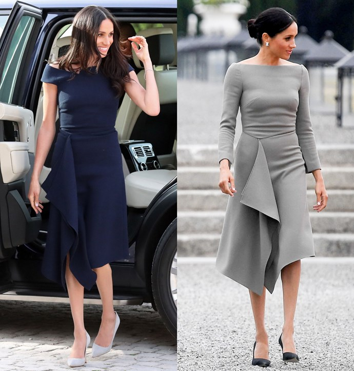 ***Roland Mouret dress***<br><br> Although they sport different sleeves, Meghan has turned to this Roland Mouret dress with waterfall hem twice now—in navy and in grey.