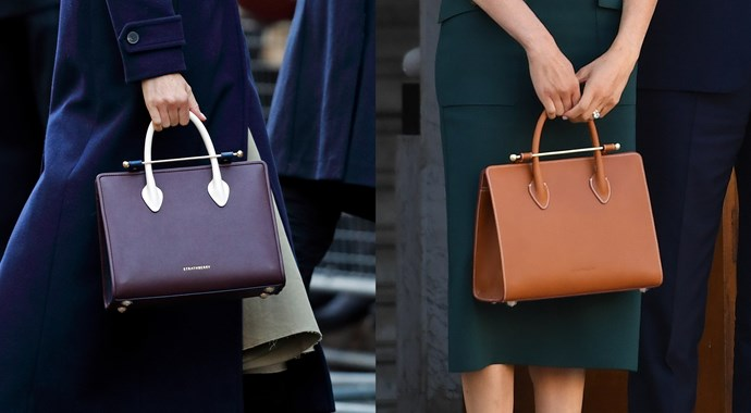 ***Strathberry Midi tote***<br><br> Another piece that has served Meghan well before and after her marriage, the Strathberry Midi tote is a firm favourite—she owns it in both burgundy and tan.
