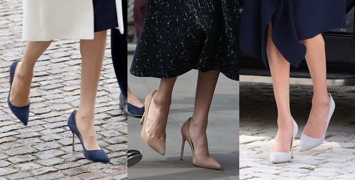 ***Manolo Blahnik 'BB' suede pumps***<br><br> In both her pre-duchess days, and post, Meghan has strongly favoured these 'BB' heels from Manolo Blahnik. She owns them in five different colours—grey, navy, black, beige and light grey.