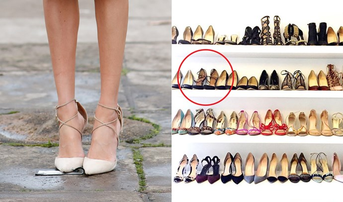 ***Aquazzura Matilde Crisscross suede pumps***<br><br> Although she has only worn the beige version so far, we know from her since-deleted Instagram that Meghan does own these Aquaruzza heels in black, too.
