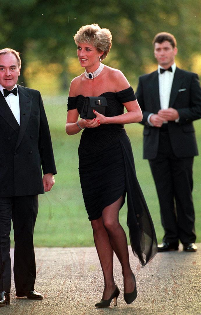Diana, Princess of Wales in the iconic 'Revenge Dress' designed by Christina Stambolian, 1994.