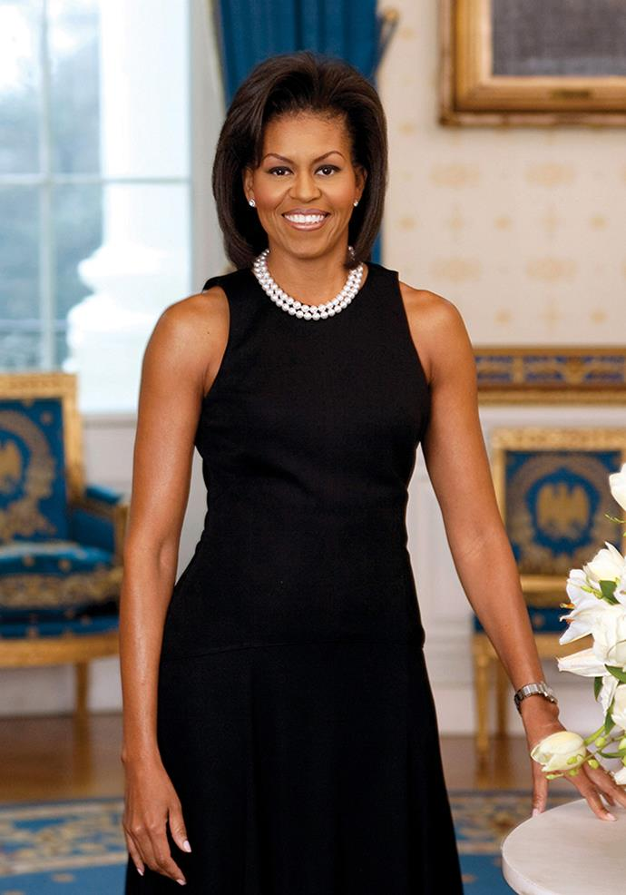 Michelle Obama in Michael Kors Collection for her first official portrait as First Lady, 2009.
