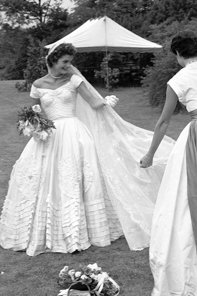 At Hammersmith Farm on day of her marriage to Kennedy, 1953