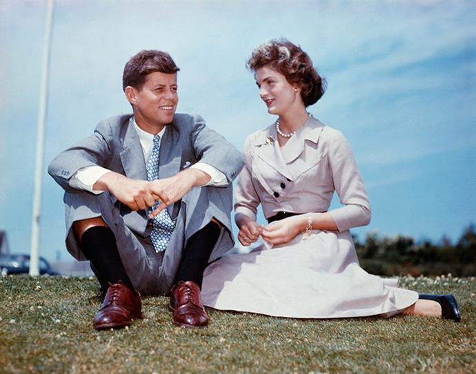 At John F. Kennedy's family home at Hyannis Port, Massachusetts, a few months before their wedding, 1953