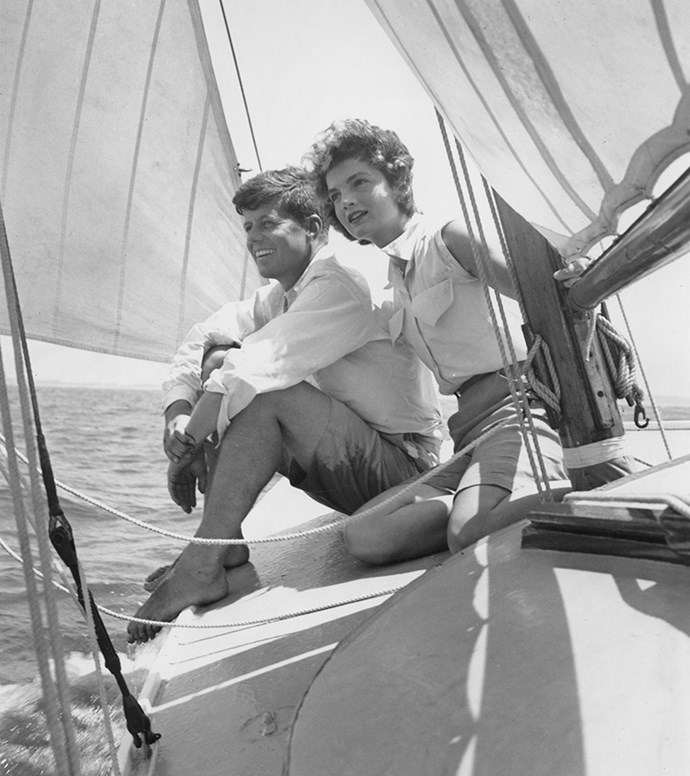 Sailing while on vacation at the Kennedy compound in Hyannis Port, Massachusetts, 1953