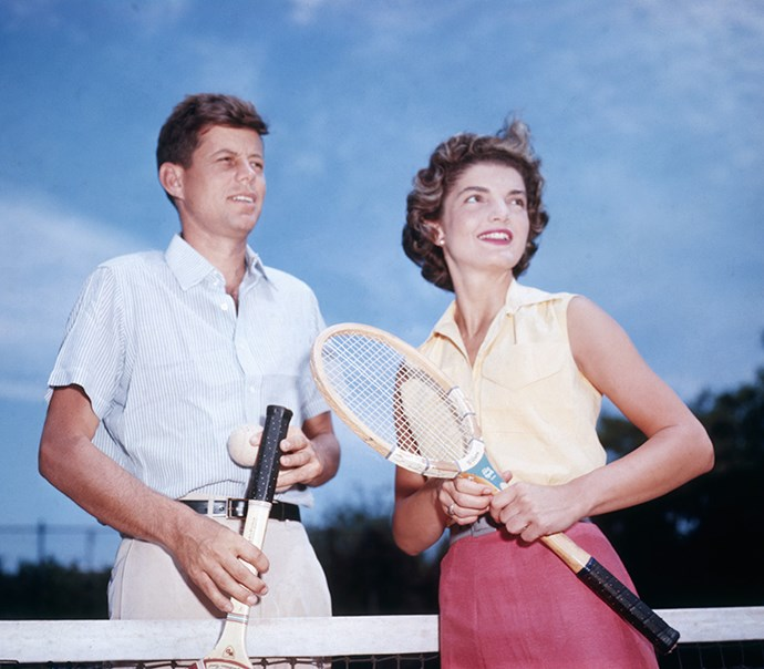Playing doubles with Kennedy, 1953
