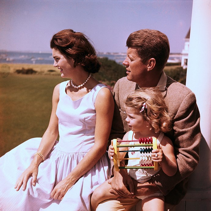 With husband John F. Kennedy and daughter Caroline, circa 1955