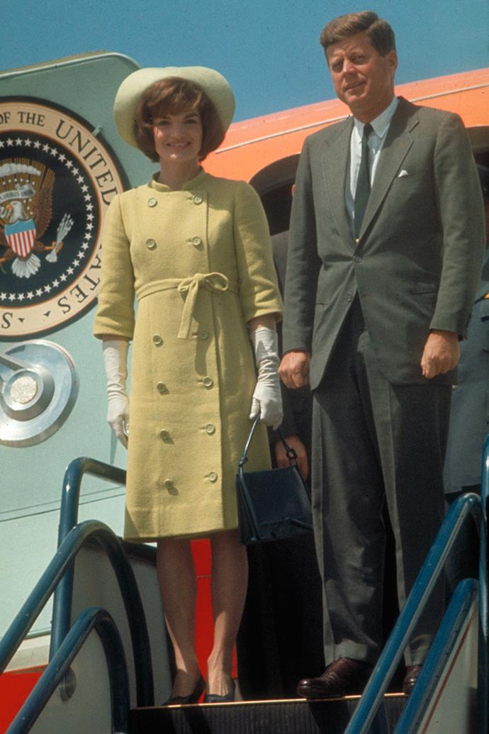 Arriving at the airport for Alliance for Progress Tour in Latin America, 1961
