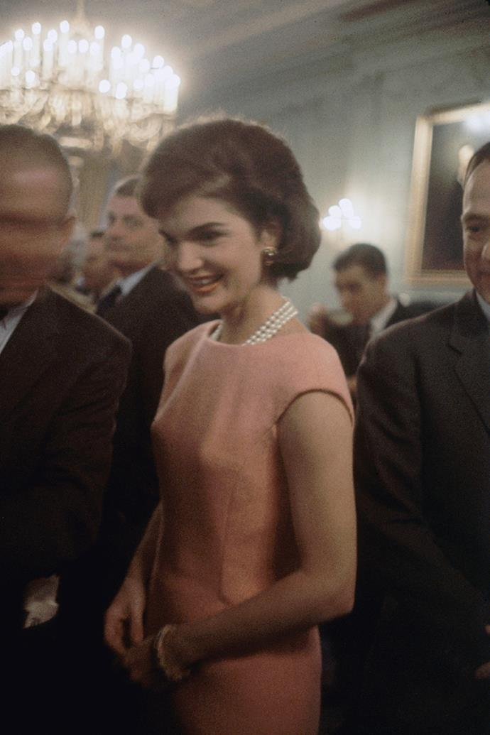 Greeting members of the 86th Congress in the Green Room at the White House, Washington, 1961
