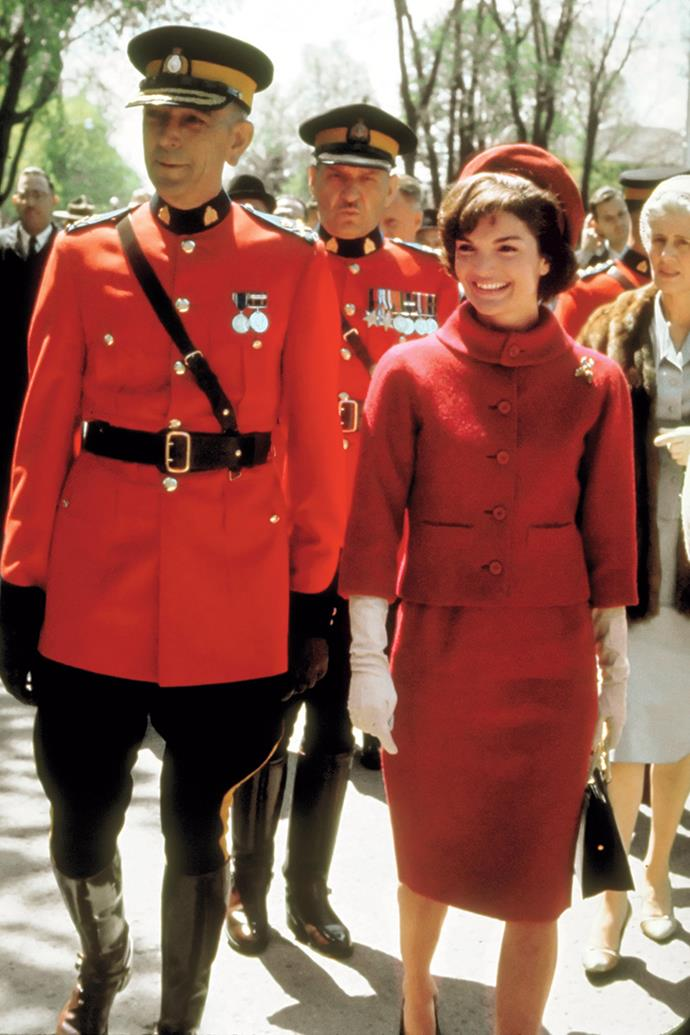 With Royal Canadian Mounted Police Commissioner Clifford Harvison, during a state visit to Canada, 1961