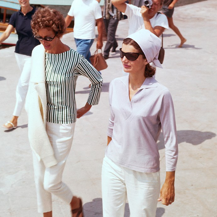 With Mrs. Agnelli on a pier in Amalfi before embarking on the yacht Agneta, 1962