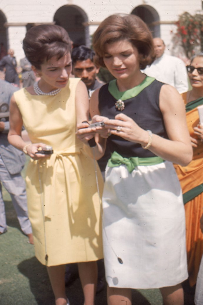 With sister Lee Radziwill on goodwill tour to India, 1962