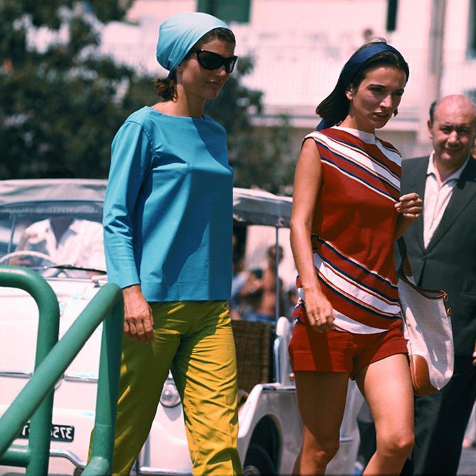 With sister Lee Radziwill on the Amalfi Coast, 1962