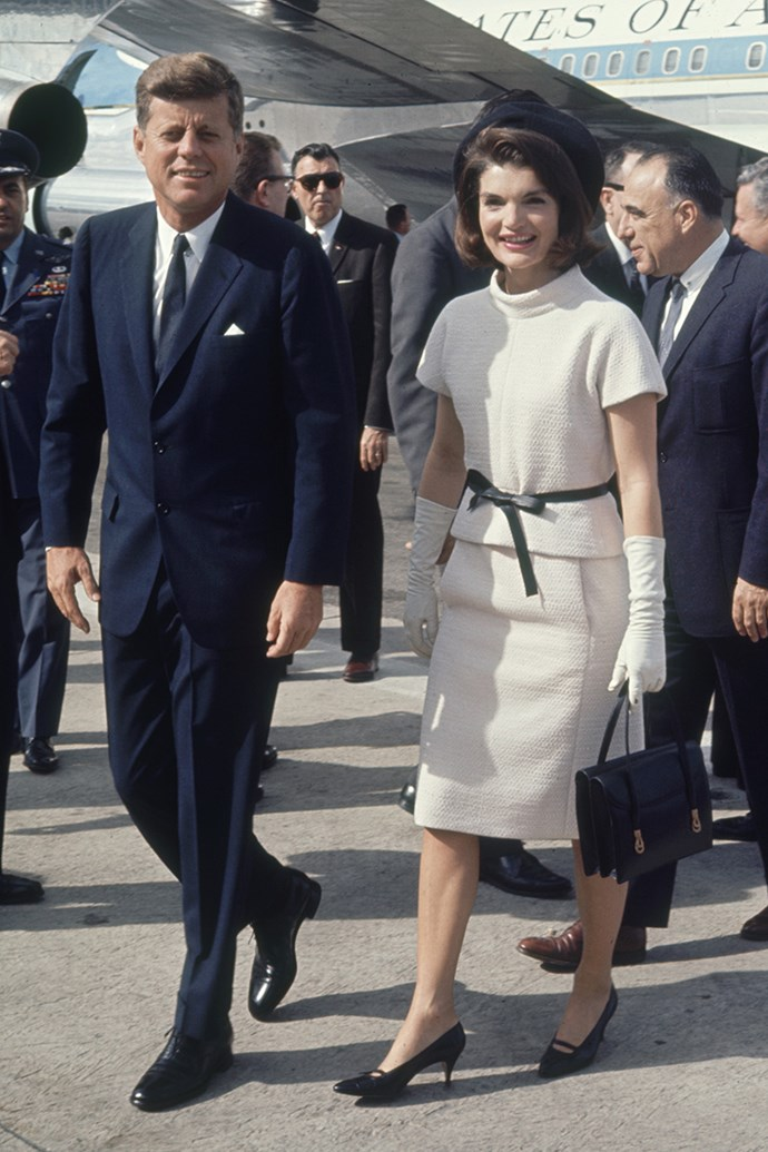 Arriving at San Antonio airport during a campaign tour of Texas, 1963