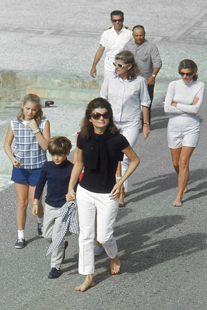 With children Caroline and John Kennedy, sister Lee Radziwill and sister-in-law Pat Lawford on Skorpios Island, 1968