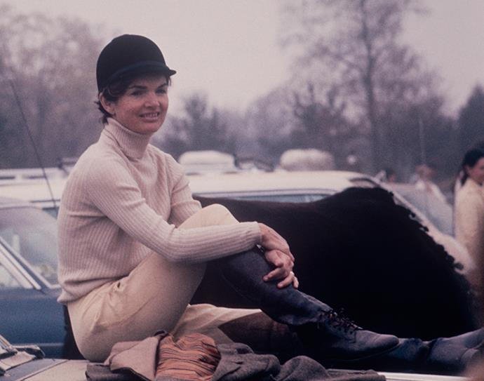 Wearing riding gear in Peapack, New York City, 1970